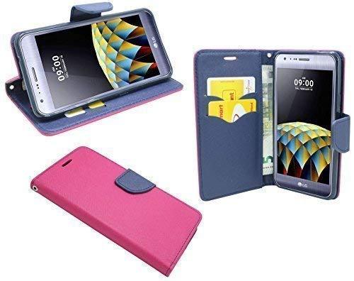 ENERGMiX Elegante Buch-Tasche kompatibel mit LG X-CAM in Pink-Blau (2-Farbig) Leder Optik Wallet Book-Style