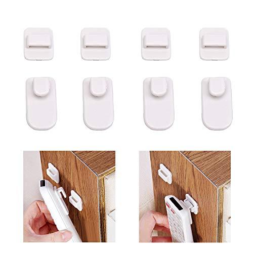 Nuodwell - Set di 4 ganci adesivi da parete per telecomandi di TV e condizionatori d'aria bianco
