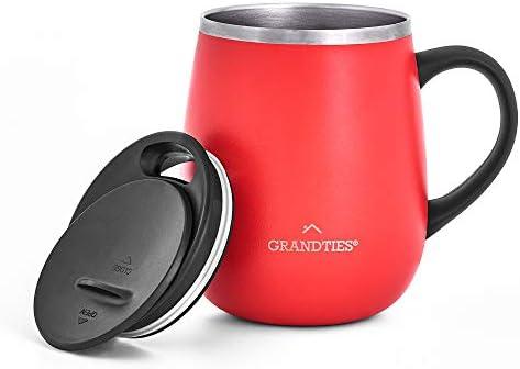 Grandties Insulated Coffee Mug with Handle Sliding Lid for Splash Proof 16 oz Wine Glass Shape product image