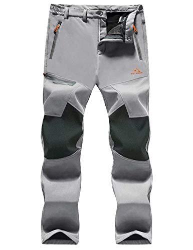 MAGCOMSEN Ski Pants Men Work Pants for Men Waterproof Pants Softshell Pants Belted Climbing Pants Zip Pockets Snowboard Pants for Men