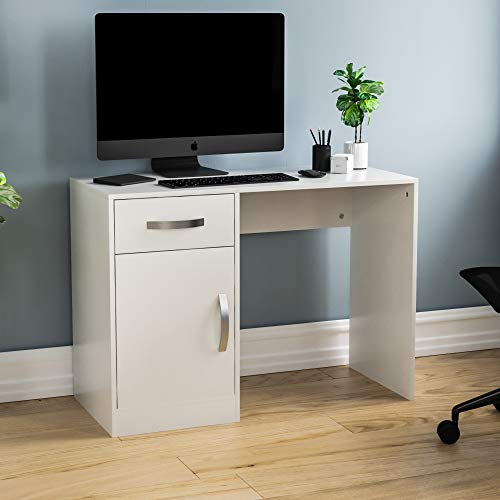 Vida Designs Hudson Computer Desk with Drawer and Door, Home Office PC/Laptop Table, Gaming Study Workstation Storage Cupboard Furniture, White