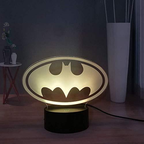 Veilleuse Batman Logo Led Night Light Lampe De Table Plug-in Lampe Usb Touch Lampe De Table Cadeau Usb À Distance 7 Couleurs