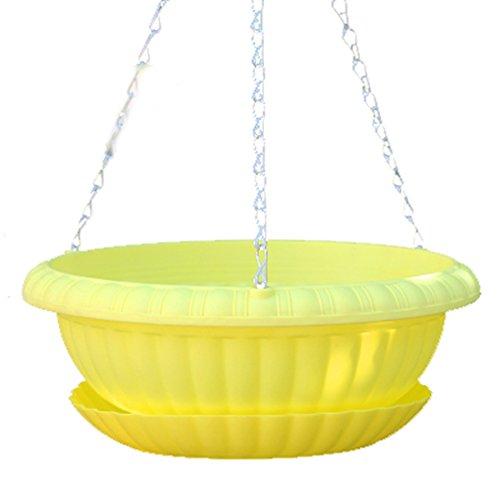 Vert Radis Pots à suspendre avec plateau en plastique épais Plastique Spire Pots ronds Vert Panier pour plantes pour augmenter le Vert Carotte Lavabo, jaune, Taille L