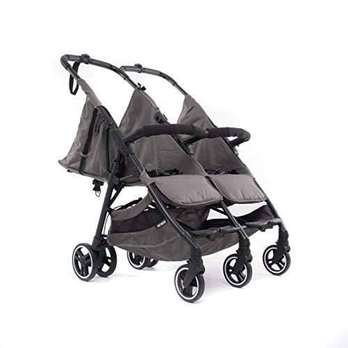 Baby Monsters-Silla Gemelar Ligera Kuki Twin2 2020 + Regalo de un bolso Neceser organizador- Danielstore (Heather Grey)
