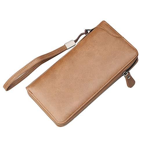 junkai Network technology Ltd junkai Leder Brieftasche Männer Brieftasche Männer Kupplung Lange Brieftasche Kreditkarteninhaber Multifunktionale Tasche Mit Handschlaufe Telefon Brieftasche Dunkelbraun