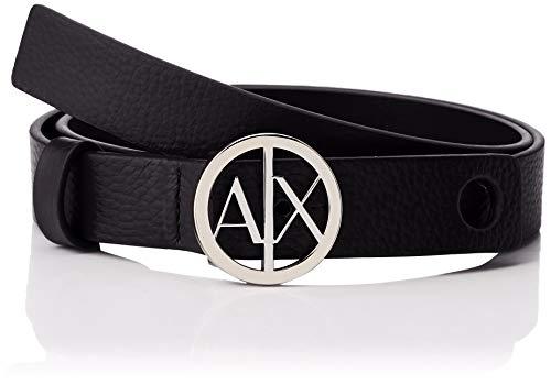 ARMANI EXCHANGE Circle Logo Belt Cintura, Blu Navy 37735, 4 (Taglia Produttore: Medium) Donna