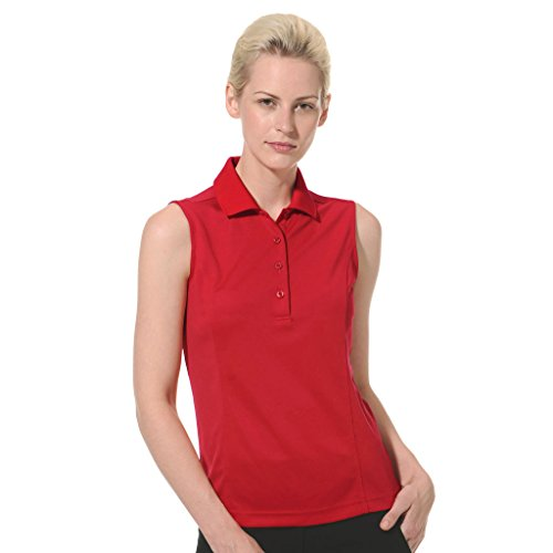 Monterey Club Women's Sleeveless Pique Solid Polo Shirt #2064 (Red, X-Large)