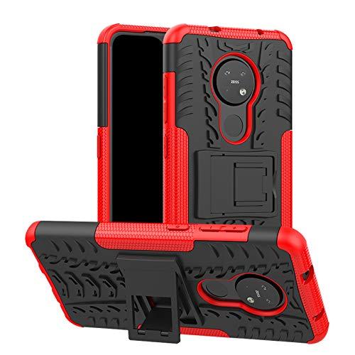 betterfon   Nokia 6.2/7.2 Hülle Outdoor Handy Tasche Hybrid Hülle Schutzhülle Panzer TPU Silikon Hard Cover Bumper für Nokia 6.2/7.2 Rot