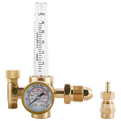 Welding Argon CO2 Gas Regulator 0-25LPM, 0-4000PSI Mig Tig Flowmeter Female 9/16' & 5/8' Fittings CGA-580 Inlet Gas Welder Regulator Gauge