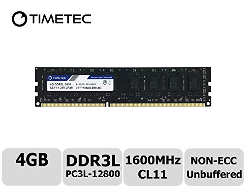 Timetec Hynix IC 4GB DDR3L 1600MHz PC3-12800 Unbuffered Non-ECC 1.35V CL11 2Rx8 Dual Rank 240 Pin UDIMM PC Sobremesa Memoria Principal Module Upgrade (4GB)