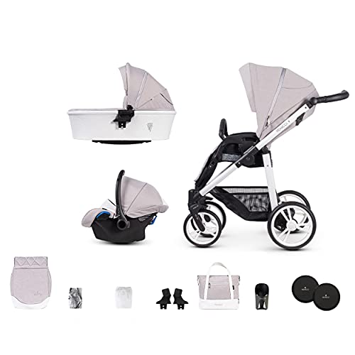 Venicci Pure 2.0 3-in-1 Travel System (10 Piece Bundle) – with Carrycot + Car Seat + Changing Bag + Apron + Raincover + Mosquito Net + 5-Point Harness and UV 50+ Fabric + Car Seat Adapters (Vanilla)