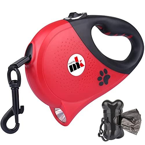 Einziehbar Hundeleine mit LED-Licht USB-Aufladung 50 kg Rollleinen 5m ausziehbares Nylonband 360 ° verwickelungsfrei Einhandbremse/Pause/Verriegelung 15pcs Hundekotbeutel mit Beutelspender