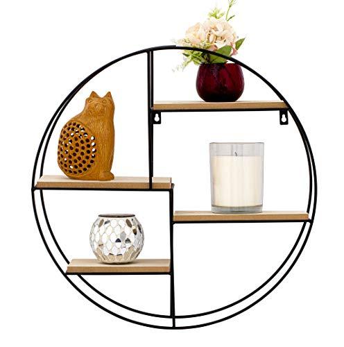 Nitaar Estantería flotante redonda para colgar en la pared, con 4 estantes de madera, ideal para oficina, sala de estar, cocina, baño, color negro