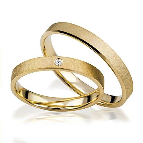Alianzas de oro amarillo brillante en 8 quilates con diamantes