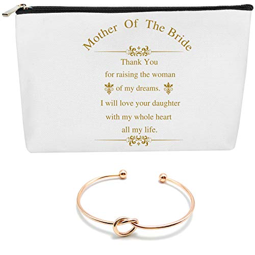 COFOZA Mother of The Bride Gifts Set Wedding Bridal Shower Gift Multi-Purpose Cosmetics Bag with Zipper Cotton Canvas Makeup Pouches Travel Toiletry Bag with Rose Gold Knot Bracelet