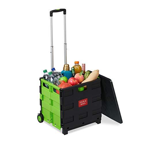 Relaxdays Einkaufstrolley klappbar, bis 35 kg, 50 l Kiste, mit Teleskopgriff, 2 Rollen, Transport Trolley, grün/schwarz