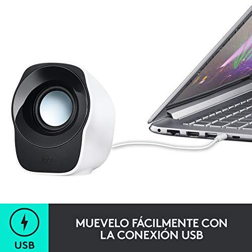 Logitech Z120 Sistema de Altavoces Compacto para PC, Entrada Audio 3.5 mm, USB, Controles Integrados, Distribución de Cable, USB alimentado, Ordenador/Smartphone/Tablet, Blanco/Negro