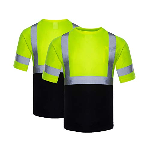 FONIRRA Hi Vis Safety T Shirts for Men ANSI Class 2 High Visibility Reflective Work Shirt with Short Sleeve Black Bottom(Yellow,3XL)