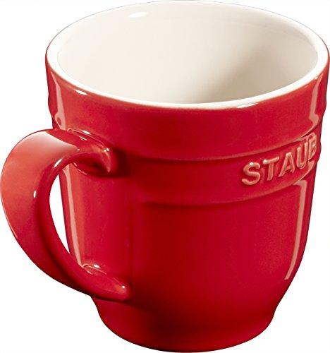 STAUB 4er Set Keramik Becher Kaffeebecher Kaffeetasse Tasse rund Kirschrot 0,35L