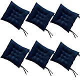RULLENY Set of 6 Chair Pads and Seat Cushions with Ties Non Slip Comfortable and Soft for Indoor, Dining Living Room, Kitchen, Office Chair, Den, Travel, Washable (Navy Blue, 6)