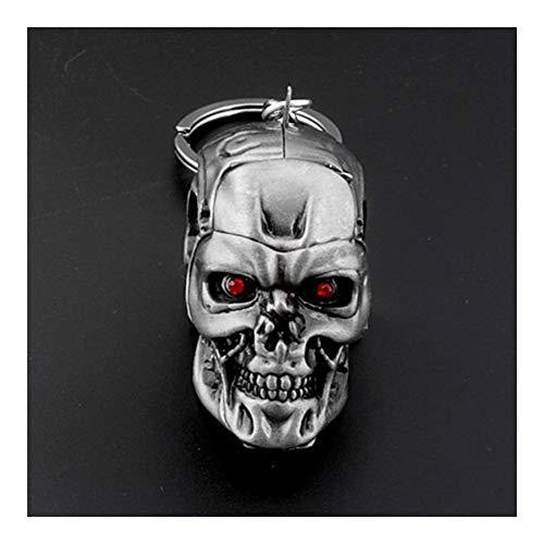 Llaveros con logotipo de cabeza de cráneo, diseño de calavera y castigador, diseño de esqueleto para hombre (color: gris)