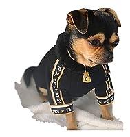 小犬用ペット服 春と秋の綿の服ペット服テディ子犬の服ペット服犬の服 (Color : Black, Size : M)