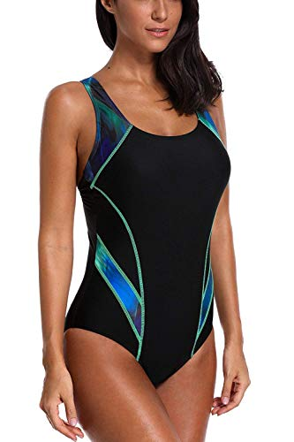 CharmLeaks Women Swimmers Bathing Suit Sport Swimsuit Lap Swimwear XXL Green