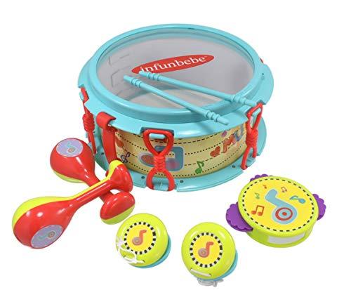 TOYLAND 8 Piezas para niños My First Drum Set - ¡Incluye Tambor, pandereta, Maracas y más! - Adecuado para Edades 2+