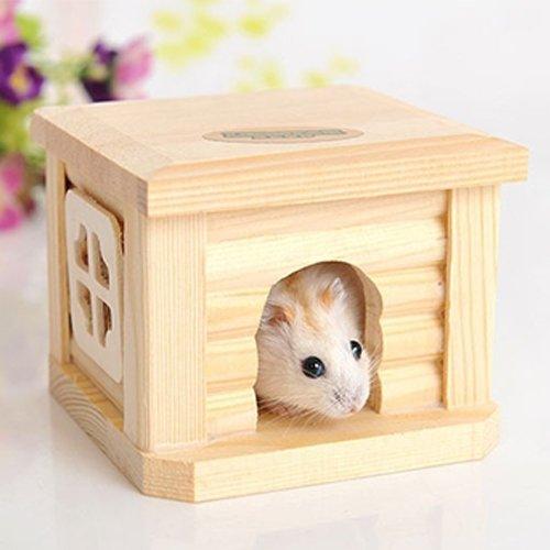 para Suministros para Mascotas LJR Pet Pet Techo de Madera Casa de Madera Hut Pets Cause para pequeños Animales Conejo Hamster