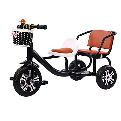Afang Tandem Kinder Dreirad Lager Behälter, Doppelt Sitz Pedal Fahrrad Können Tragen Menschen Reiten Spielzeuge Kinderdreirad Frühförderungsfahrzeug,Schwarz