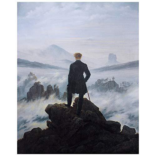 Legendarte Caspar David Friedrich Der Wanderer über dem Nebelmeer Kunstdruck auf Leinwand, cm. 80x100
