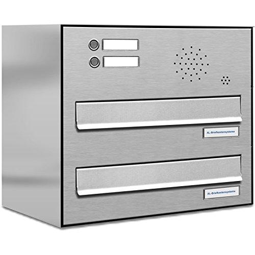 AL Briefkastensysteme 2 er Briefkasten für Tür/Zaundurchwurf in V2A Edelstahl mit Klingel, 2 Fach, wetterfeste Premium Briefkastenanlage modern