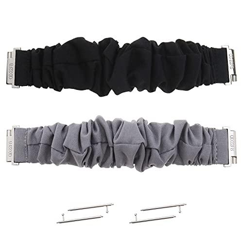 2 stks Scrunchie Zwart en Grijs Stof Repalcement Strap Polshorloge Band Elastisch Compatibel met Fitbit Versa
