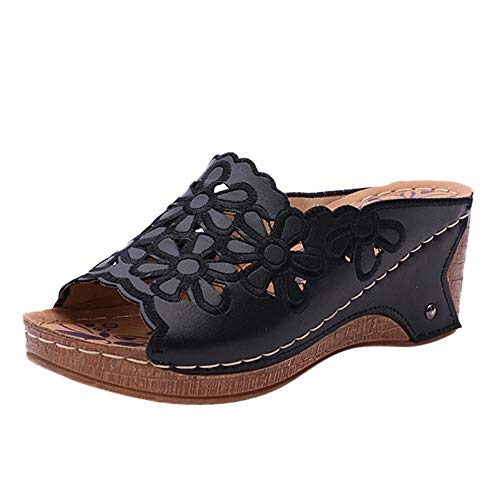 TIFIY Damen Sandalen Damenmode Casual Hollow Out High Heels Dicke Plattformen Schuhe Hausschuhe Modisch Ausgehend Jeden Tag Hausschuhe Schwarz 38