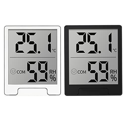 BAYAA Termo-higrómetro, pantalla digital de color blanco y negro, medidor de temperatura y humedad interior, termo hidrómetro, medidor de humedad para plantas de casa