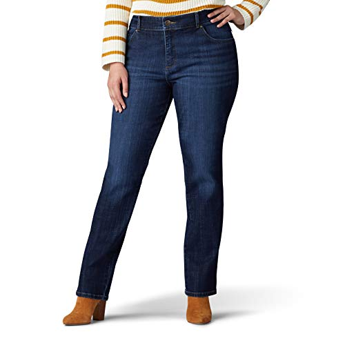 LEE Women's Plus Size Relaxed Fit Straight Leg Jean, Bewitched, 24W Petite