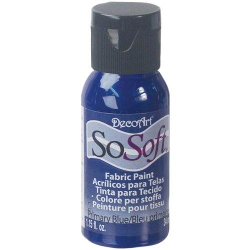 DecoArt DSS42-26 SoSoft Fabric Acrylics Paint, 1-Ounce, Primary Blue