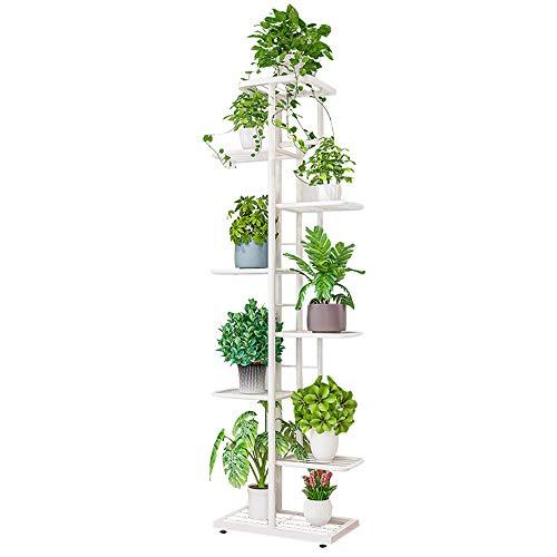 Ibequem, supporto per piante a 8 ripiani in metallo, per vasi da fiori, per interni, esterni, balcone, giardino, colore: bianco