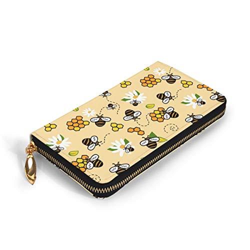 蜂蜜と鎮静 財布 小銭入れ レディース 大容量 RFID&磁気防止 本革 サイフ 人気 かわいい 長財布 開運財布 極薄 軽量