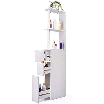 Realizzato in MDF Ecologico Mobile per Toilette Armadio Salvaspazio da Bagno Bianco COSTWAY Scaffale da WC