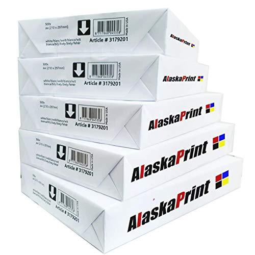 Alaskaprint 2500 Druckerpapier DIN A4 Weiß I Kopierpapier 2500 Blatt Multifunktionspapier, Laserpapier, Universalpapier, Fotokopierpapier
