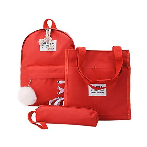 VECOLE Rucksäcke Mädchen Jungen 2019 Neuer Schultaschen Taschen Geldbörse Dreiteiliger Rucksack Outdoor Wanderrucksacke(rot)