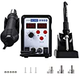 VIVOHOME 2 in 1 898D SMD Rework Station Soldering Station Iron Hot Air Heat Gun...
