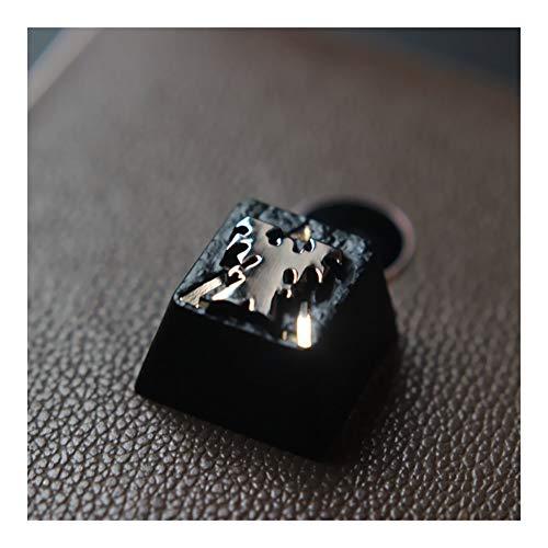 cjcaijun 1 Pieza del Teclado retroiluminado de Zinc de aleación de Aluminio Llave mecánica Cap for Starcraft 2 SC2 Terran tecla Clave (Colore : Nero)