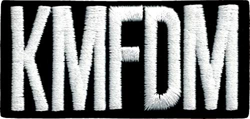 KMFDM - White Logo on Black Rectangle - Embroidered Iron On Patch