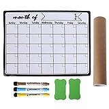 Mengmengda Planificador mensual magnético pizarra blanca imanes de nevera dibujo tablero de mensajes recordatorios