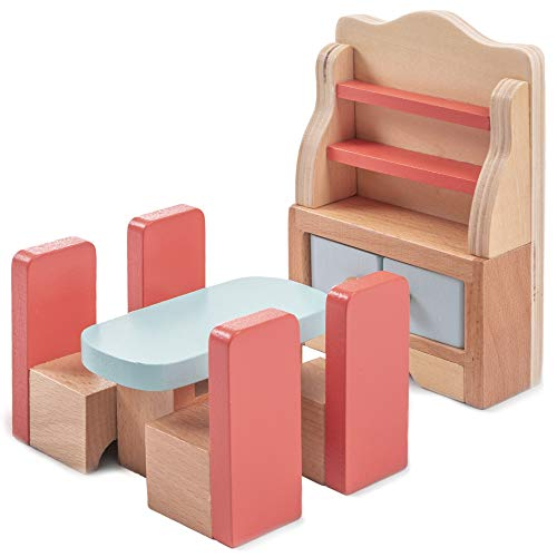 Dazzling Dining Room Furniture Set | Wooden Wonders Premium Dollhouse Furniture with 6 Pieces | Includes Four Chairs, Dining Room Table, a Cabinet Plates Storage | Playtime and Imaginative Play