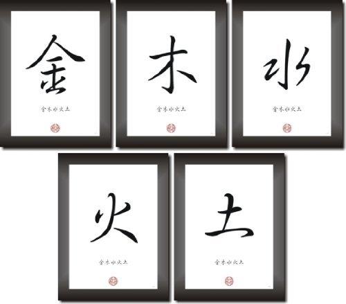 Los 5Elementos Del Feng Shui–madera, metales, agua, tierra, metal en chino–japonés tipo de letra de caligrafía como cuadro de arte impresión Póster