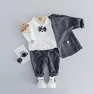 Gray 2 3T Infant Clothing Kids Plaid Suit Newborn Clothes Autumn Winter Baby Clothes Set Formal Gentleman 3Pcs Outfit for Baby Boy Clothes