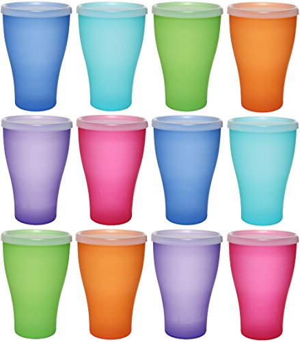 idea-station NEO Kunststoff-Becher 12 Stück, 450 ml, bunt, mit Deckel, mehrweg, bruchsicher, stapelbar, Party-Becher, Plastik-Becher, Mehrweg-Becher, Wasser-Gläser, Trink-Gläser